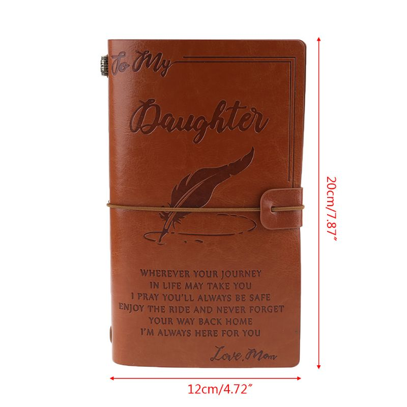 Vintage Engraved Faux Leather Journal Notebook Diary My Dad Mom Travel Notepad 667F