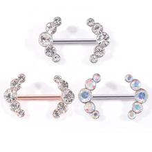 1Pc Women Sexy Symmetrical Crystal Nipple Ring Fashion Stainless Steel Body Piercing Jewelry