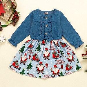 2020 wiosna jesień dziewczynka noworodek ubrania bawełniane zestawy dla dzieci boże narodzenie Denim topy sukienka z nadrukiem dla 6M 12M 18M 24M 2T 3T 4T