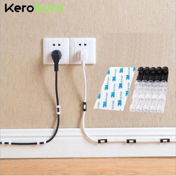 Organizer do kabli kabel z zaciskami zarządzanie pulpit i stacja robocza ABS Wire Manager uchwyt na przewód USB ładowanie linia danych nawijarka tanie i dobre opinie kerokuru CN (pochodzenie) Akrylowe Cable Organizer Cable Management 3cm x 1 1cm x 1cm Cable Wire Organizer