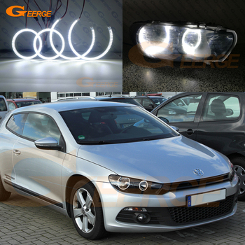 цена на For Volkswagen VW Scirocco 2008 2009 2010 2012 2013 Excellent DRL Ultra bright illumination smd led Angel Eyes halo rings kit