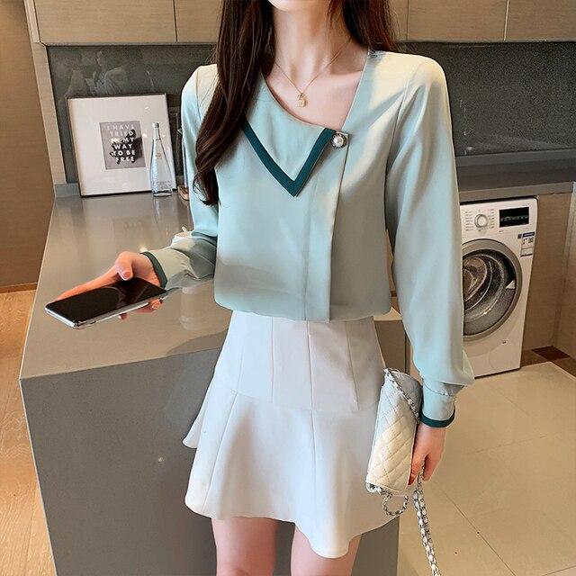 Korean women blouses shirts woman Long Sleeve shirts blouse office lady Chiffon Shirt tops plus size blusas mujer de moda 2020 2