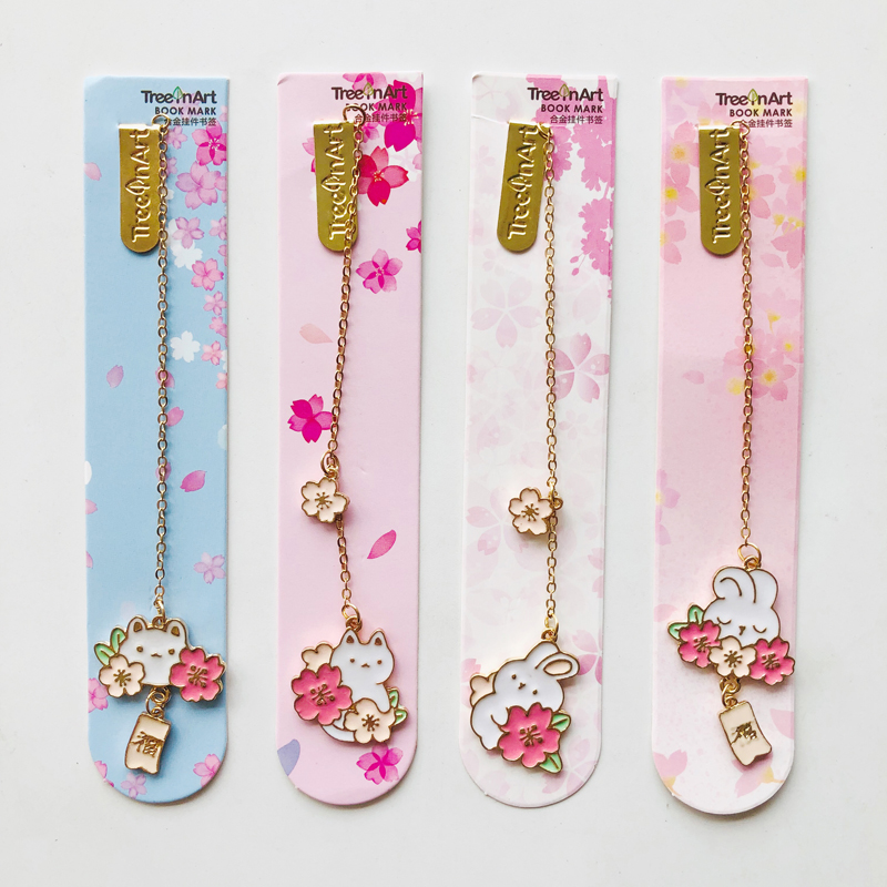 1X Romantic Sakura Rabbit Alloy Chain Pendant Bookmark Marker Of Page School Office Supply