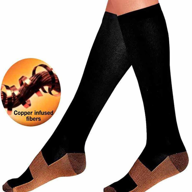 Anti-Fatigue Long Tube Compression Socks Unisex Knee High Sandals Nylon Cotton Moisture Wicking Hosiery Soft Pain Relief
