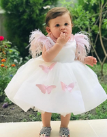 Cap Sleeve Feather Birthday Dresses Baby Girls White Dresses Ball Gowns Knee Length Feather Sleeve Pink Butterfly Applique