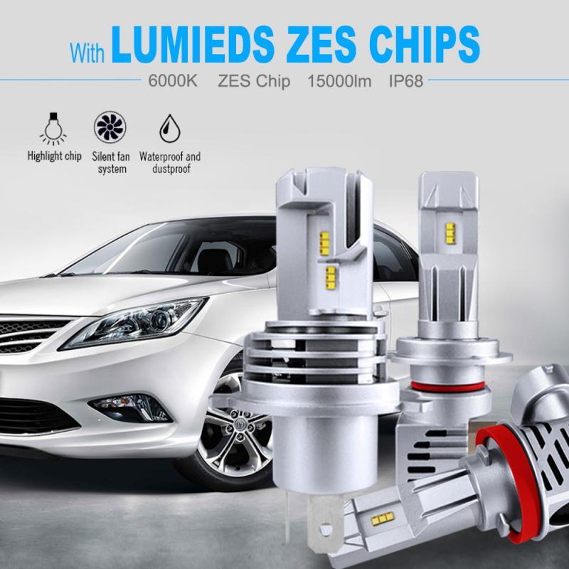2/1 лампы для автомобильных фар H4 LED H7 H8 H9 HB2 HB3 H11 HB4 9005 9006 12000LM Plug-N-Play Сверхъяркие 6000K ZES чип с ближним/дальним светом