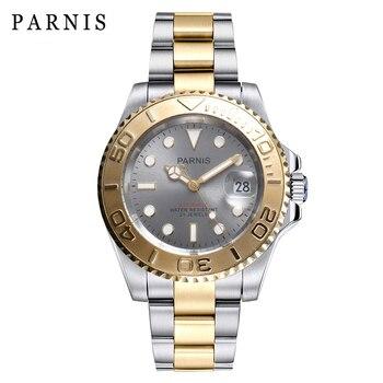 Parnis serie mar profundo reloj hombre giratorio cerámica 40mm reloj automático cierre plegable Bracelt