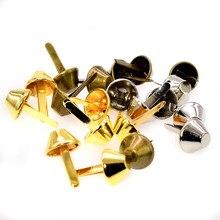 50 шт. 15 мм Бронзовый Серебристый позолоченный металл Ремесла ножки для сумочки заклепки Шпильки для Сумочки Сумочка рокерские заклепки Сумка Кожа DIY