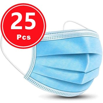 25pc Disposable Facemask Cover Industrial 3ply Ear Loop Face Maskswashable And Reusable Cotton Face Cover Filter Facemask Maske