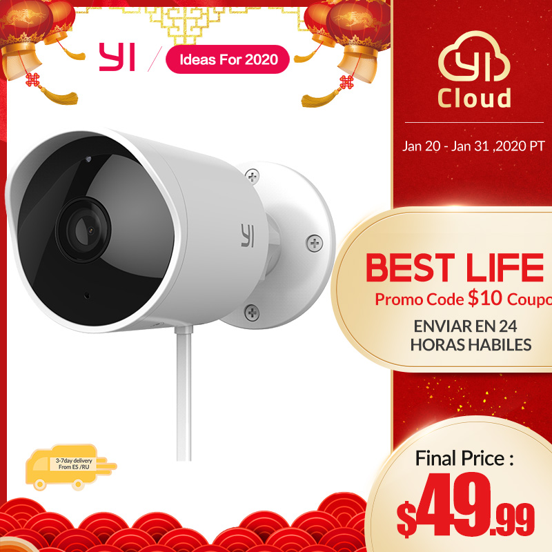YI Outdoor Camera 1080P Ip Camera SD Card Slot & Cloud Wireless Motion-activated Alerts Security Video Surveillance