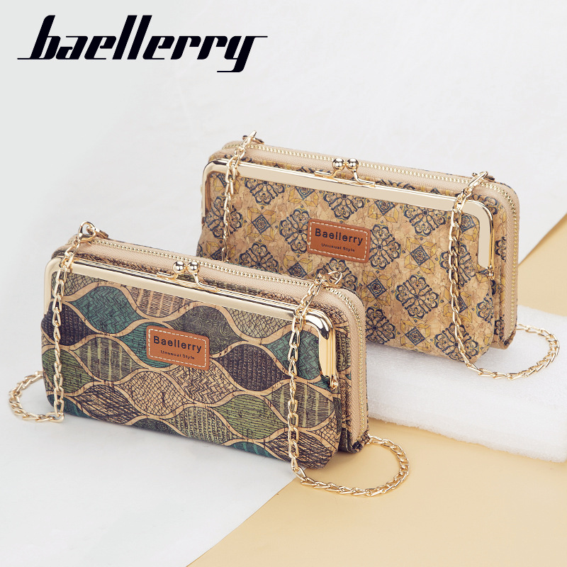 Baellerry Women's Wallet New Lady Phone Bag Zipper Handbag Purse Long Wristlet Wallets Clutch Messenger Wood Shoulder Straps Bag