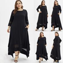 Fashion Women Plus Size Solid O-Neck Three Quarter Sleeve Muslim Long Dress