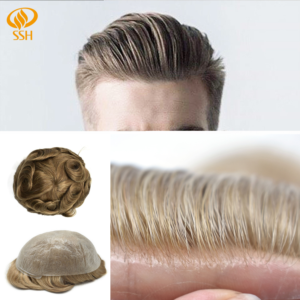 SSH Remy Hair Invisible Mens Hair Replacement Ultra Thin Skin Toupee Poly Hairpiece PU Systems