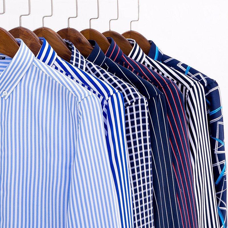 CARANFIER Mens Dress Lattice Shirt Male Spring Autumn Long Sleeve Solid Twill Formal Business Men Social Stripe Shirts
