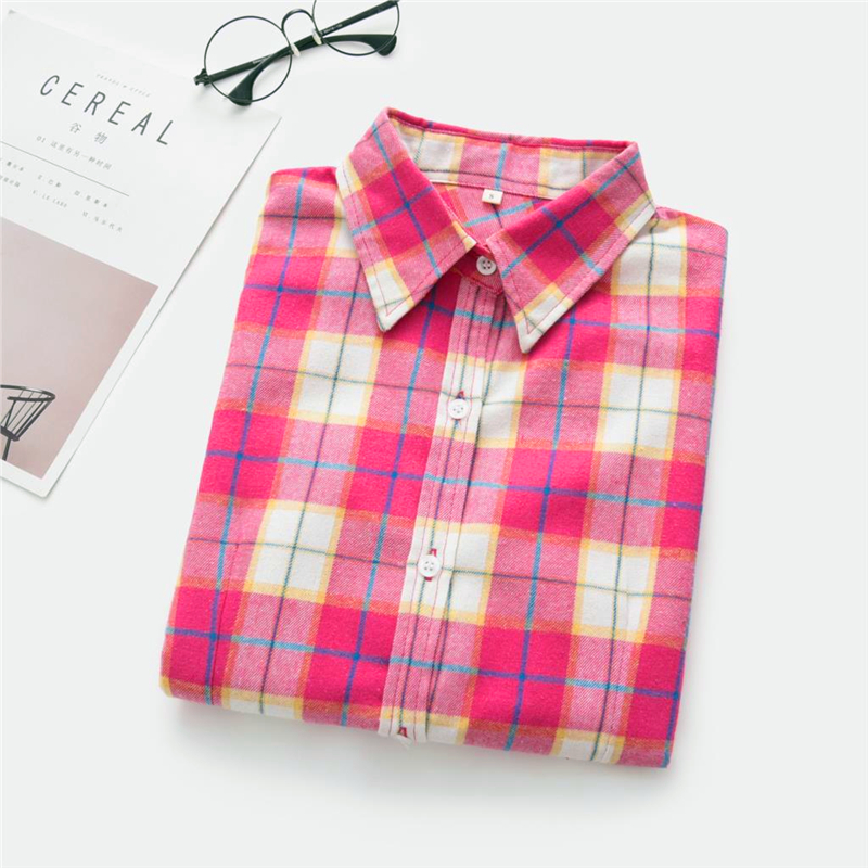 2020 New Women Blouses Brand New Excellent Quality Cotton 32style Plaid Shirt Women Casual Long Sleeve Shirt Tops Lady Clothes 28