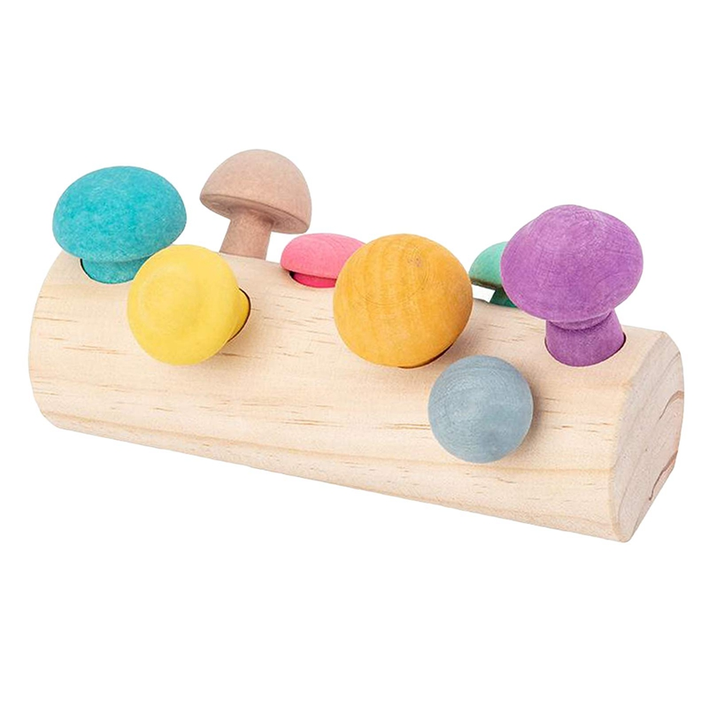 Wooden Colorful Mushroom Shaped Color Sorting Game Toy Kids Picking Mushroom Educational Toys