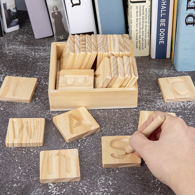 Children's Wooden Educational Toys Montessori Early Learning Word Spelling Letter Groove Practice Board Pen Control Training