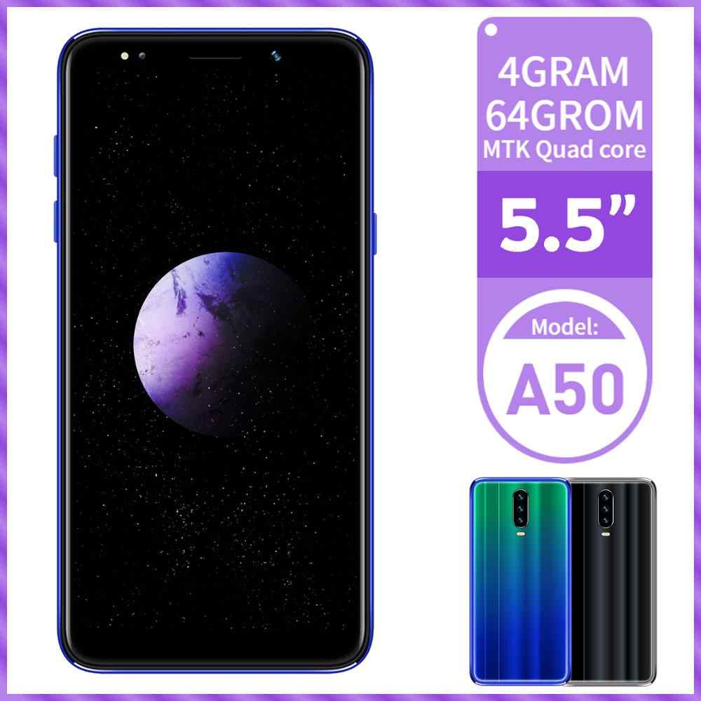 """A50 4 GRAMMES 64GROM MTK Android Smartphones Face ID 5.5 """"Écran 13MP Téléphone Portable Quad Core Original Débloqué Téléphones celulares"""