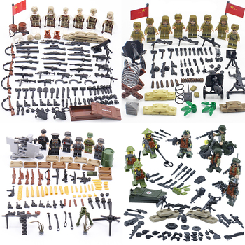 2017 new kazi 4pcs building blocks wolf tooth field team militray army weapons compatible with legoe solider bricks toys WW2 Military Weapons Accessories Building Blocks WW2 Army Soviet Union Field troops Soldiers Figures Helmet Weapons Bricks toys