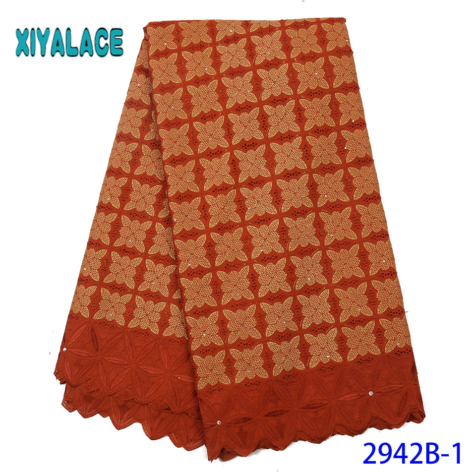 African Embroidered Lace Fabric,2019 Korean Lace Fabric,High Quality Orange Cotton Lace Fabric KS2942B-1