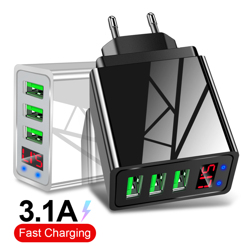 Lovebay USB Charger Quick Charge 3.1A EU US 3 Ports LED Display Adapter Wall Mobile Phone Charger for iPhone 11 XS Fast Charging image