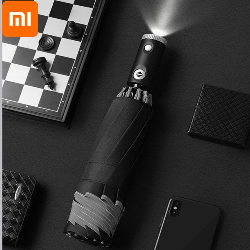 Xiaomi Automatic Non-automatic Umbrella With Reflective Stripe Reverse Led Light Umbrella Three Folding Inverted 10 Ribs Travel