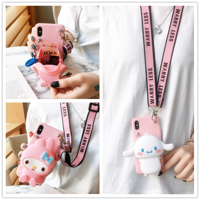 Cute 3D Lanyard Wallet Japan Cat My Melody Soft Phone Case For <font><b>Samsung</b></font> Galaxy A50 A70 A10 A30 A40 <font><b>A80</b></font> A10S A20S M10 Pink <font><b>Cover</b></font> image
