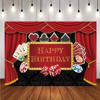 Kasyno zdjęcie z imprezy fotografia tło Poker Las Vegas wszystkiego najlepszego z okazji urodzin zdjęcie z imprezy zdjęcie tło rekwizyty fotograficzne baner dekoracyjny tanie i dobre opinie TKPKON CN (pochodzenie) Winylu Malowane natryskowo Dzieci