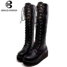 BONJOMARISA New Hot Sale 33-47 Platform Boots Ladies lace-up mid-calf Women 2019 Winter Warm Fur Wedges Shoes Woman