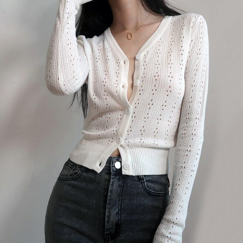 Women Button Through Crop Pointelle Knit Cardigan Open Stitch Knit Cardigans Women Deep V Neck Cropped Cardigan