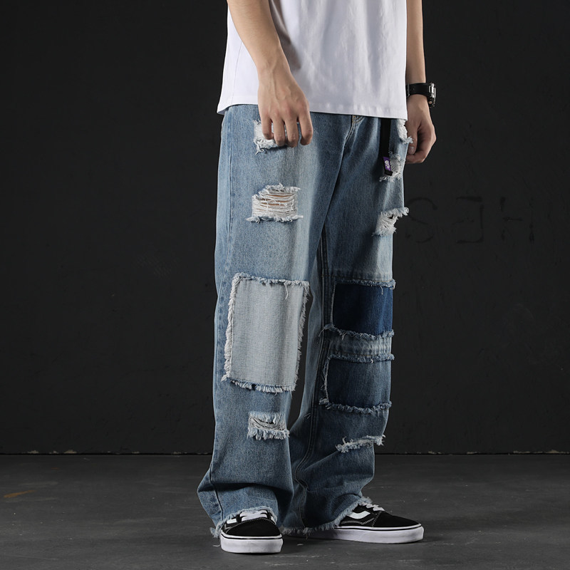 Hole Ripped Baggy Wide Leg Jeans Men Fashion Patchwork Straight Jeans Loose Fit Hip Hop Summer Denim Ankle Length Pants Blue
