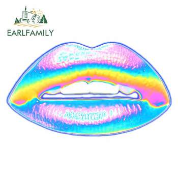 EARLFAMILY 13cm x 7.7cm for New Holographic Lips on Blue Car Sticker Vinyl Occlusion Scratch Decal Bumper Window Decoration image