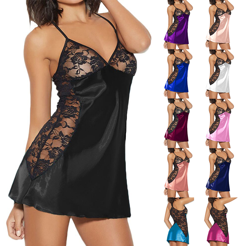 Sexy Night Dress For Women Lingerie Nightwear Large Size Sleepwear Lace Silks Lingerie G-String Underwear Set S-6XL