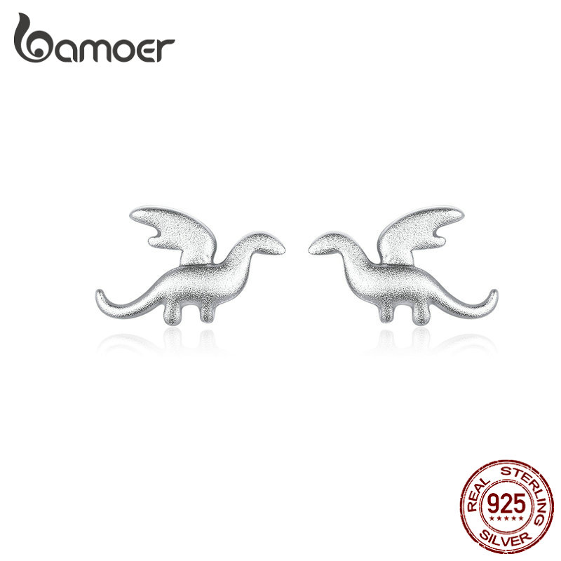 Bamoer Silver Dinosaur Small Stud Earrings For Girl Kid 925 Sterling Silver Jewelry Gifts Fashion Accessories Brincos BSE301