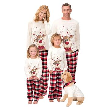 Family Matching Xmas Pyjamas Set Long Sleeve Elk Blouse Plaid Pants Sleepwear image
