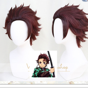 Demon Slayer: Kimetsu no Yaiba Tanjiro Kamado Short Chestnut Brown Heat Resistant Hair Cosplay Anime Wig + Wig Cap(China)