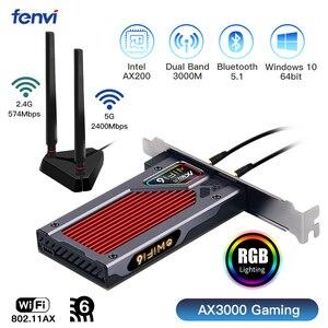 Fenvi 3000 Мбит/с WiFi 6 PCI-E Bluetooth 5,1 Двухдиапазонная игровая Беспроводная PCIe карта RGB Адаптер 2,4G/5G 802.11AX Wi-Fi Intel AX200 Wlan