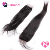 Silkswan Brazilian Straight Middle Ratio Remy HairNatural Color 10 20'' 28 Inch Lace Closure Middle/Free Part Free Shipping