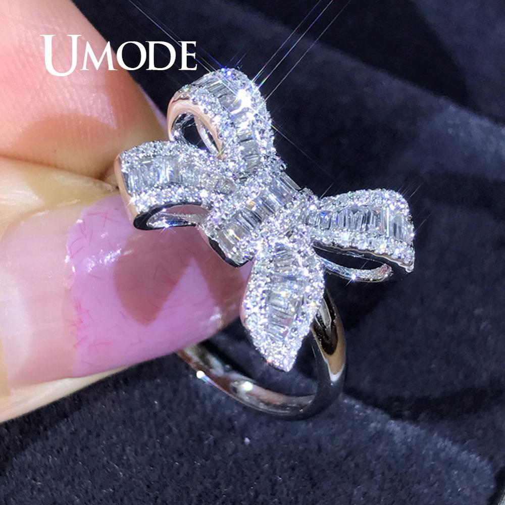 UMODE Classical Ring For Women Girls Engagement Wedding Rings Korean Jewelry Simple Crystal Zircon Bow Ring UR0522 image