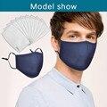 Маска для лица, модная моющаяся многоразовая маска Pm2.5 с 10 фильтрами, противотуманная и противодымная маска для рта, многоразовые маски