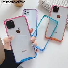 À prova de choque caso claro para iphone 11 pro xs max xr 8 7 plus x 10 6s casos de telefone luxo gradiente colorido amortecedor capa coque