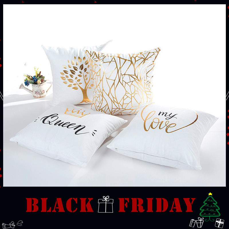 Wholesale Wedding Gift Cushion Cover White Background Gold My Queen My Love Life Tree Office  Home Party Decor Pillow Case