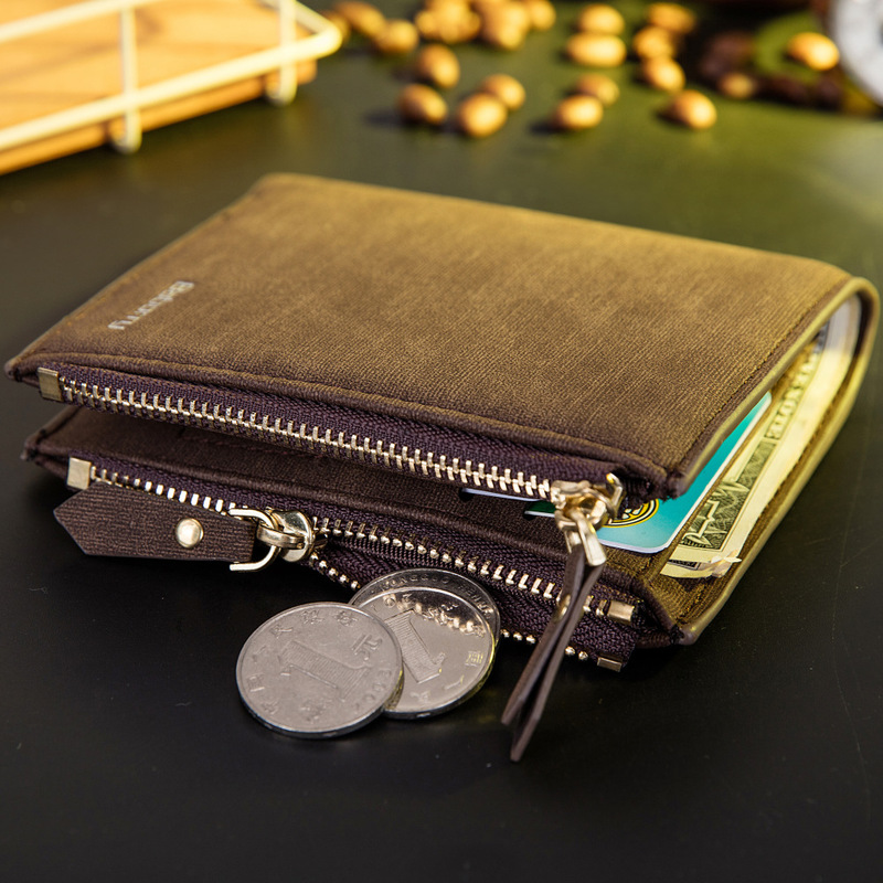 Vintage Men Wallet RFID Theft Protect Coin Bag Zipper Purse Wallets for Men with Zippers Magic Wallet Short Luxury Men's Purses 4