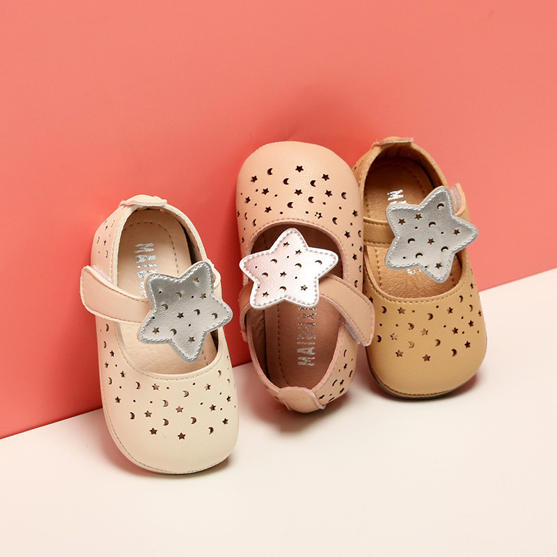 Spring New Baby Toddler Girls Shoes Pu Leather Single Shoes Soft Sole Princess Hallow Shoes Princess Shoes First Walkers
