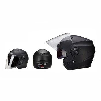 Motorbike Casco Go Kart Scooter Motor Van Motorcycle Dual Lens Vintage Helmets Four Seasons Racing Half Helmets Casque Helmet 10