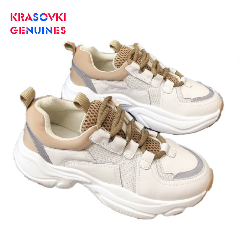 Krasovki Genuines Sneakers Women Autumn Fashion Dropshipping Thick Bottom Solid Mid Heel Shallow Mesh Breathable Causal Shoes