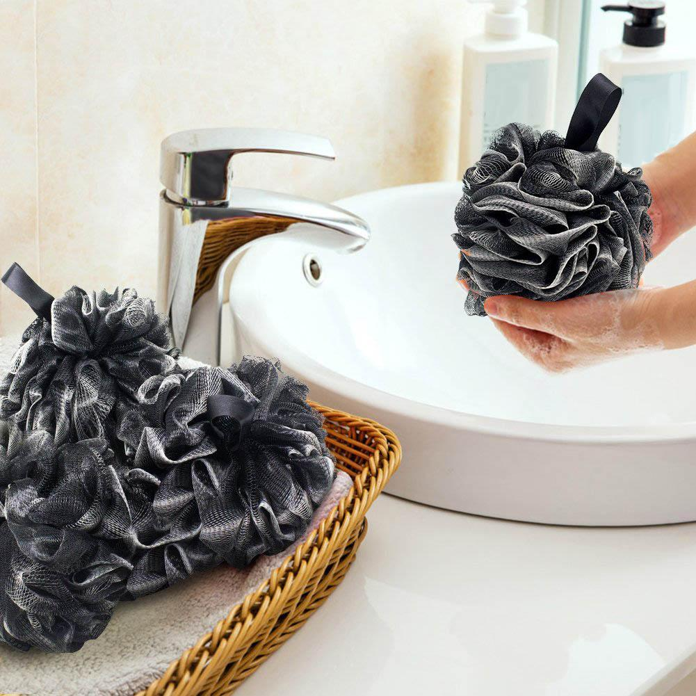 Fashion 4Pcs Black And White Bamboo Charcoal Bath Ball Shower Wash Sponge Product Soft Elastic Mesh Hanging Shower Ball