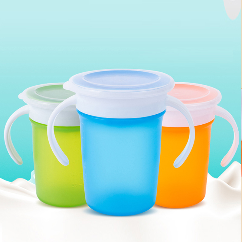 Can Be Rotated Baby Learning Drinking Cup With Double Handle Flip Lid Leakproof Magic Cup Infants Water Cups Training Cup