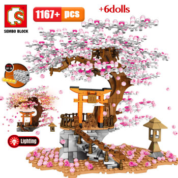 SEMBO City Street View Idea Sakura Inari Shrine Bricks Friends Cherry Blossom Technic Creator House Tree Building Blocks Toys 1