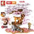 SEMBO Stadt Street View Idee Sakura Inari Schrein Ziegel Freunde Kirschblüte Diy Creator Haus Baum Bausteine Spielzeug